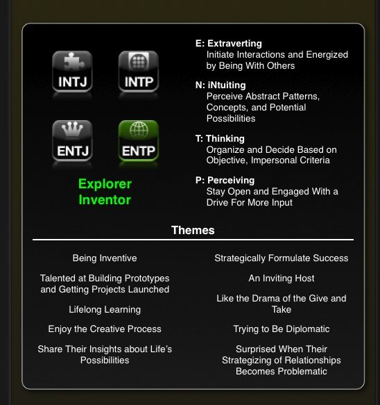 "introverted intuition with extraverted thinking Understanding introverted sensing types:  the everyday extraverted intuition of introverted  the tertiary thinking of isfjs contributes the ""logic"" used."