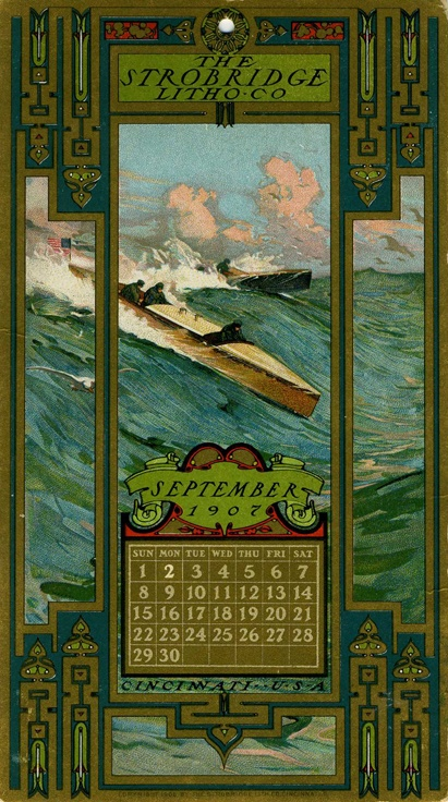 September, 1907, Strobridge Lithographing Company, from the Strobridge Calendar Card Samples, 1899-1912.