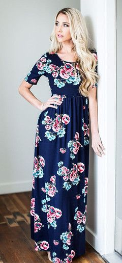 This is a super comfortable wrinkle free floral modest maxi dress, it's so feminine and flattering.