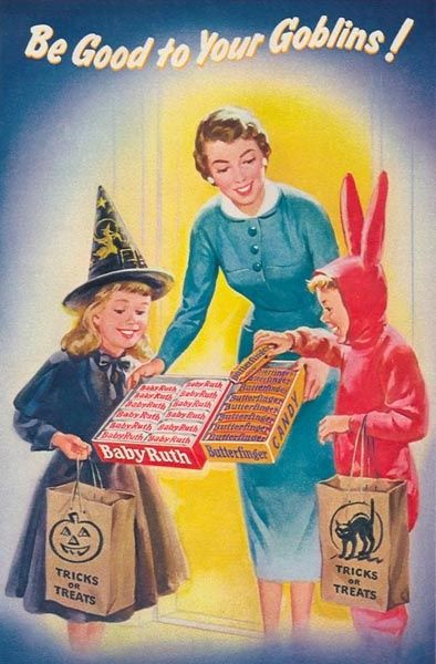 """Be Good To Your Goblins!"" ( vintage halloween / retro halloween / trick or treat / witch / bunny / butterfinger / baby ruth ) candy advertisement / ad / goblins"