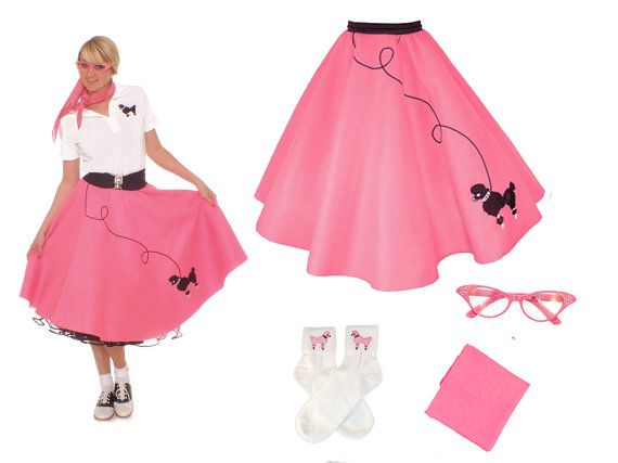 LADIES 4 Pc 50s Poodle Skirt Outfit Adult You By Hiphop50sshop