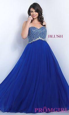 Long Chiffon Sweetheart Plus Size Prom Dress by Blush at PromGirl.com