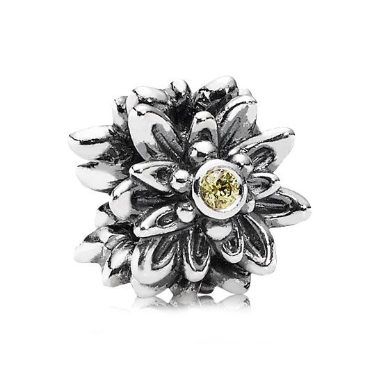 Pandora Edelweiss Charm *PANDORA Shop in Shop Exclusive* No one can forget the flower that grew in popularity after being the star of a song in The Sound of Music. The Pandora Edelweiss Charm features the Alpine mountain flower in sterling silver with a 3 yellow CZ accents. This charm is blooming with beauty.