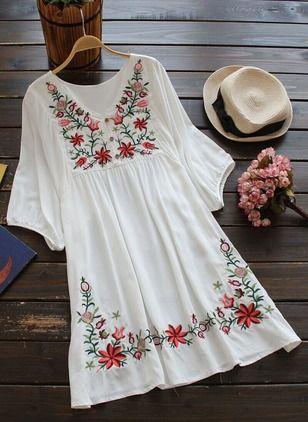 Baumwolle Blumen Halbe Ärmel Über dem Knie Lässige Kleidung Kleider (1013483) @ floryday.com