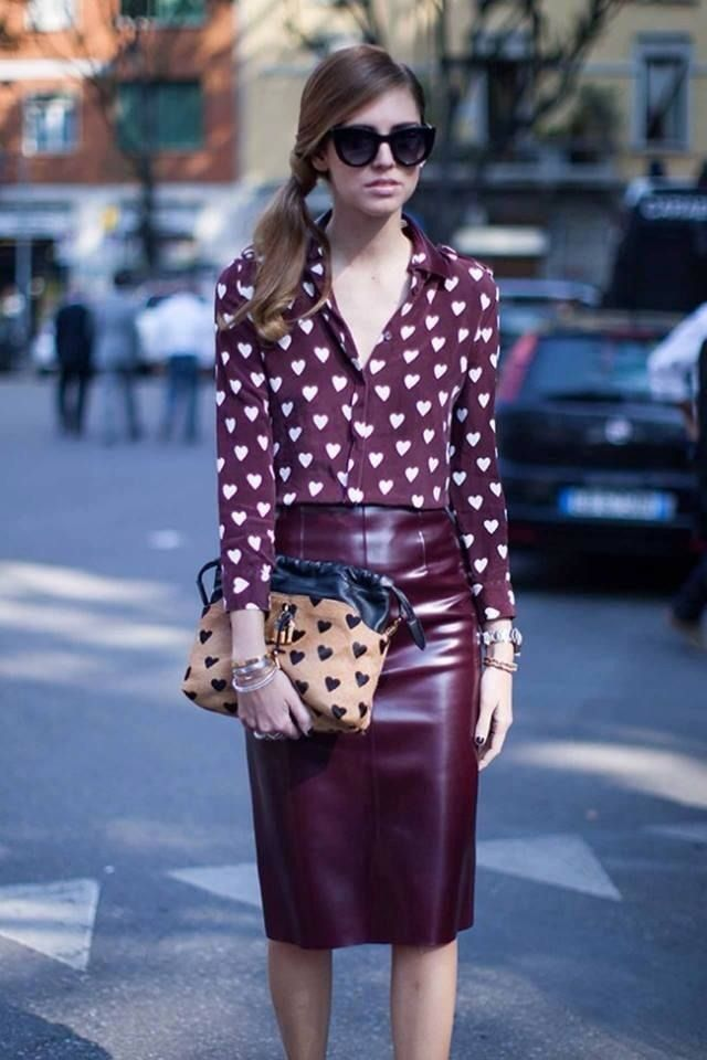 Shop this look on Lookastic:  http://lookastic.com/women/looks/burgundy-silk-button-down-blouse-burgundy-leather-pencil-skirt-brown-suede-handbag/1096  — Burgundy Print Silk Button Down Blouse  — Burgundy Leather Pencil Skirt  — Brown Print Suede Handbag