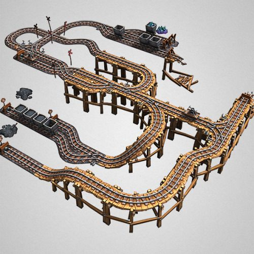 Low Poly Mine Rail Set