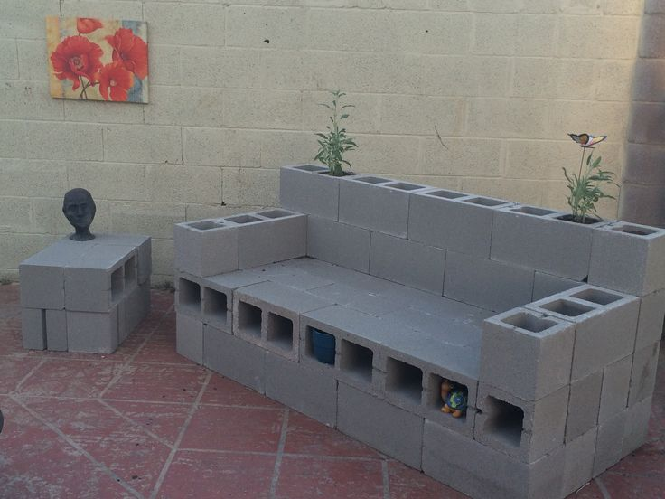 Cinderblock couch - Not done, but the backyard is getting ...