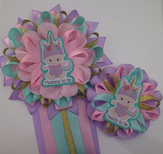 Pretty Baby Unicorn Baby Shower Mommy And Daddy To Be Corsage Set