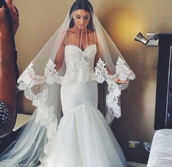 Voile de mariée avec dentelle