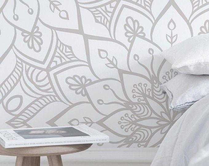 Floral Mandala Peel Stick Wallpaper Gray Geometric Self Etsy Temporary Wall Decor Peel And Stick Wallpaper Textured Walls