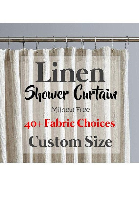 Natural Linen Shower Curtain Mildew Free Custom Shower Linen