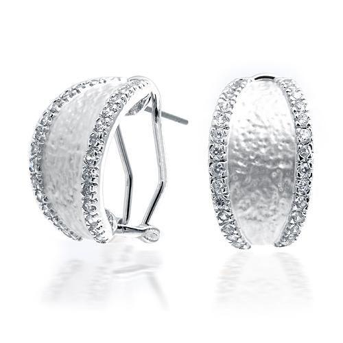 CZ Diamond Pave Matte Silver Half Hoop Earrings