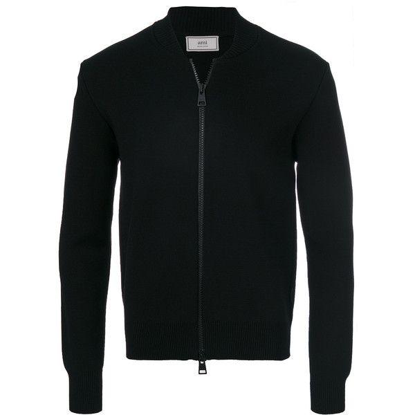 Ami Alexandre Mattiussi Zipped Cardigan (1.335 BRL) ❤ liked on Polyvore featuring men's fashion, men's clothing, men's sweaters, black, mens zip cardigan sweater, mens zip sweater, mens zipper sweater and mens cardigan sweaters
