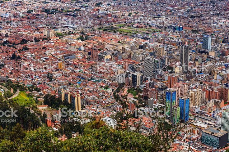 Bogota, Colombia - view of capital city downtown from Monserrate royalty-free stock photo
