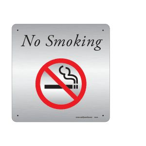 "NO SMOKING - BRUSHED CLEAR ALUMINUM COMPOSITE 12"" x 12"" OUTDOOR DURABLE"