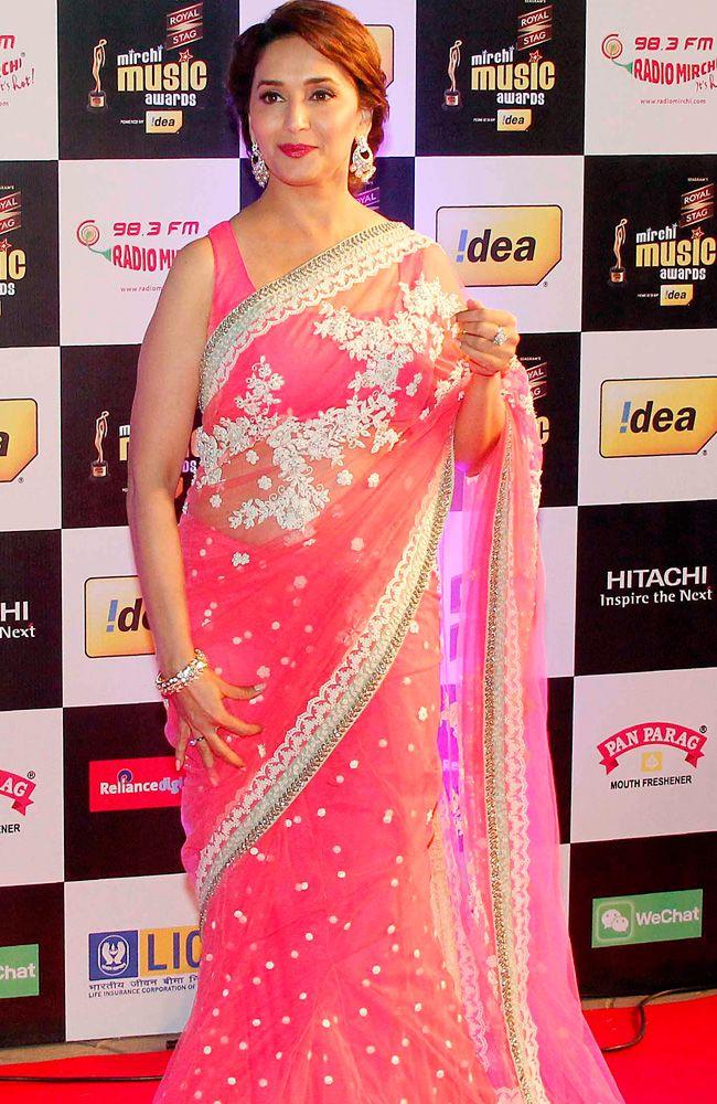 Madhuri Dixit looked ethereal in a pink and white Sabyasachi lehenga saree at Mirchi Music Awards 2014. #Style #Bollywood #Fashion #Beauty