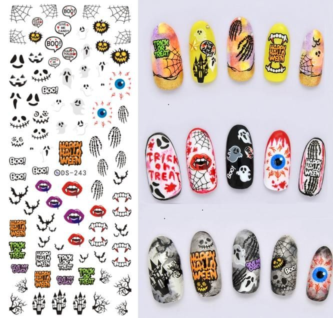 DS243 DIY Designer Horrible Halloween Water Transfer Nails Art Sticker vampire Tooth Nail Wraps Foil Sticker manicure stickers