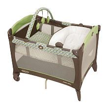 Graco Pack n' Play with Reversible Napper- gender neutral green and brown, and price-wise a good deal compared to others.