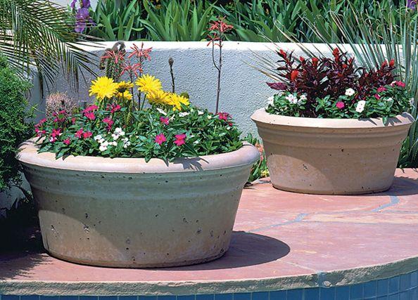 Concrete Outdoor Planters Pots American Made Durable Low Bowl Planter Pots Outdoor Large Planters Plants