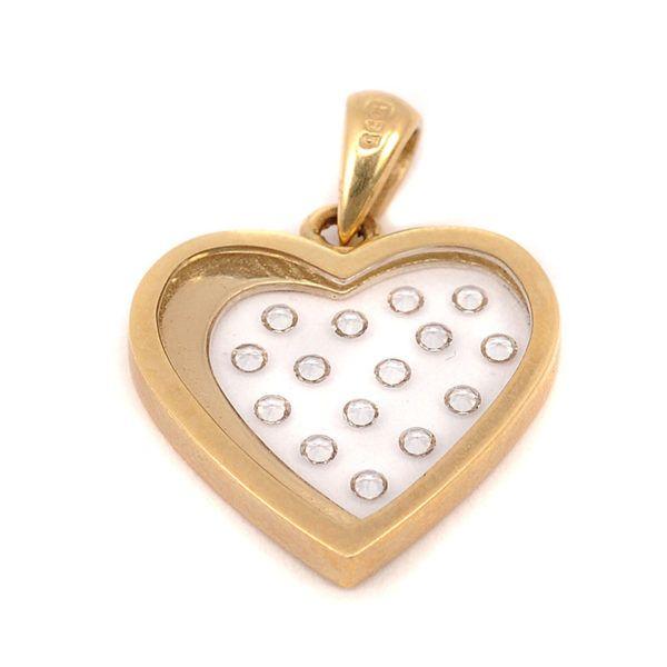 Μενταγιόν καρδιά   χρυσό Κ14 ζιργκόν 4955