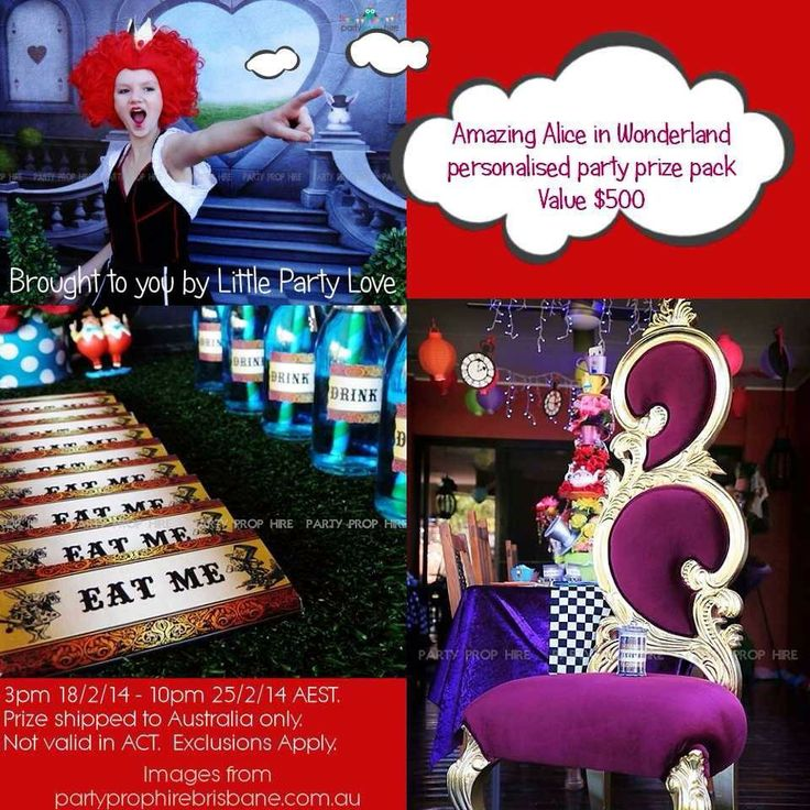 Do you love tea parties and Alice in Wonderland? You don't want to be late and miss out on this awesome prize pack!! A Wonderland party pack for 20 guests worth over $500!! Enter here --> http://littlepartylove.com.au/win-alice-in-wonderland-party/