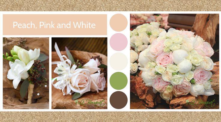 Peach, Pink & White style board by Le Bouquet Weddings | Le Bouquet St-Laurent Florist