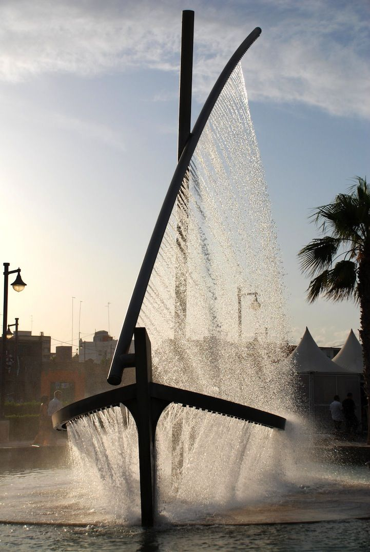 Spectacular fountain that sprays water looking like a boat.  Valencia, Spain.