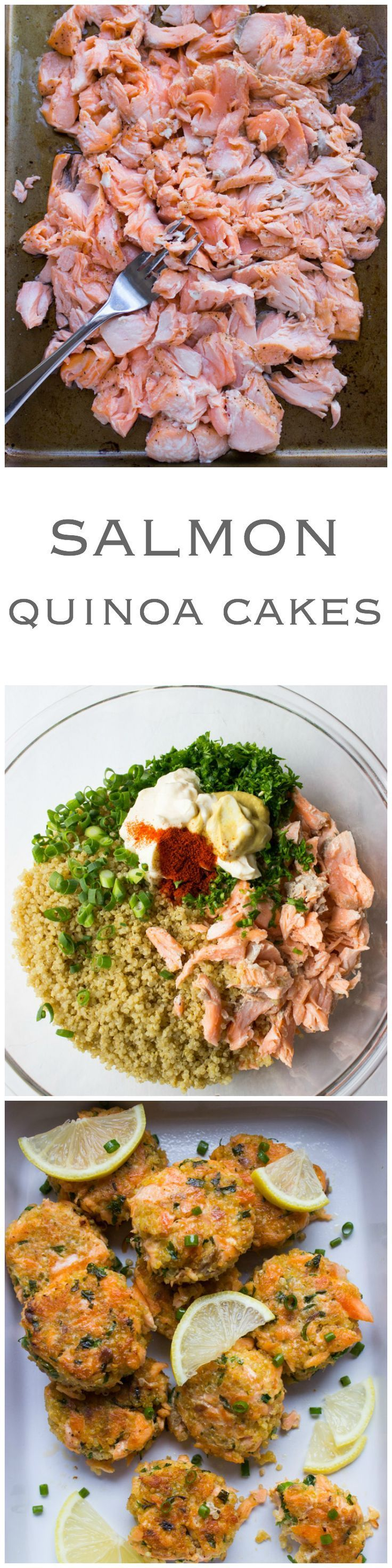 Salmon Quinoa Cakes - transform leftover salmon into these delicious super moist and tender cakes. Made with superfood quinoa and healthy salmon
