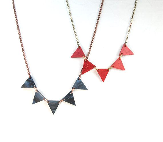 Red Geometric Triangle Pennant Necklace