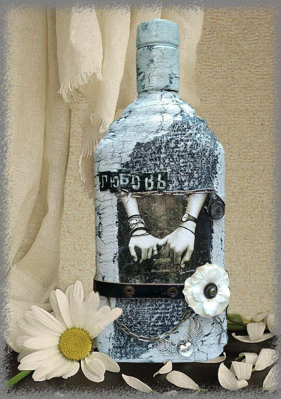 Decorative decoupage bottle Handmade glass bottle with love decor Original winebottle Home decor Present Love gift Altered bottle Souvenir