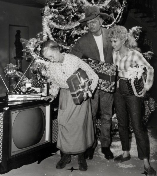 """""""The Beverly Hillbillies""""receive a new color TV for Christmas, commemorating the show's transition to color film."""