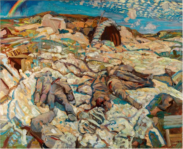 """Frederick Varley - the Amiens Offensive - 1918 Beginning in January 1918, Frederic Varley served in the First World War with C.W. Simpson, J.W. Beatty and Maurice Cullen. Varley came to the attention of Lord Beaverbrook, who arranged for him to be commissioned as an """"official war artist."""" He accompanied Canadian troops in the Hundred Days offensive from Amiens, France to Mons, Belgium. His paintings of combat are based on his experiences at the front. Although he had been enthusiastic to…"""