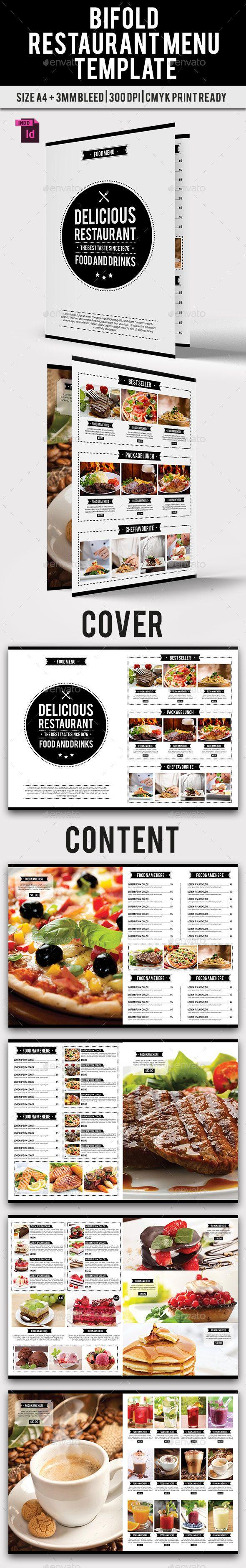BiFold Restaurant Menu Template InDesign INDD. Download here: http://graphicriver.net/item/bifold-restaurant-menu-vol-9/15174253?ref=ksioks