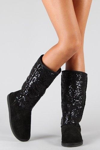 Amazon.com: Black Sequin Sparkle Knee High Fashion Winter Boot: Shoes