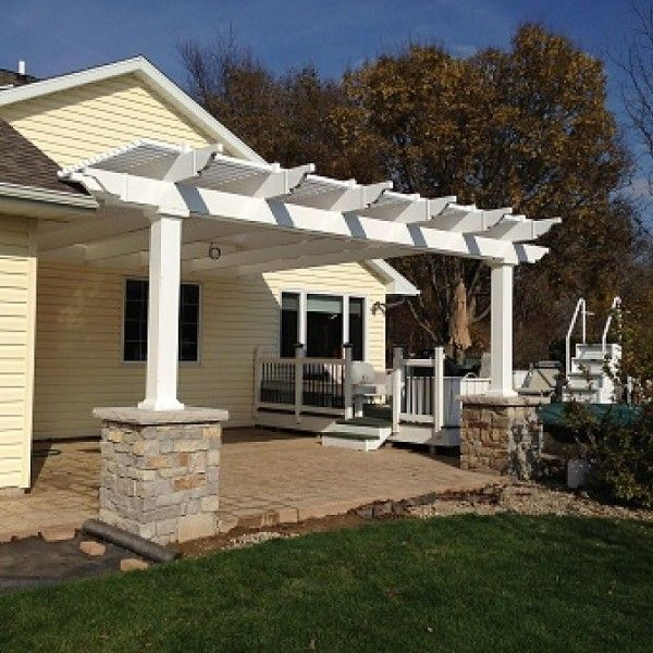 Attached 10 X 14 Pergola Kit White Vinyl W Aluminum Frame 5 Square Posts 75 Shade Outdoor Pergola Pergola