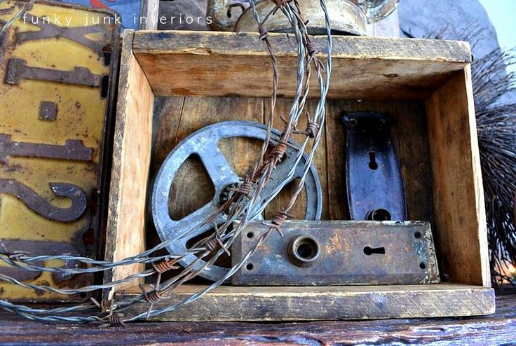 Old crate, barbed wire / How to decorate a junk style mantel via http://www.funkyjunkinteriors.net