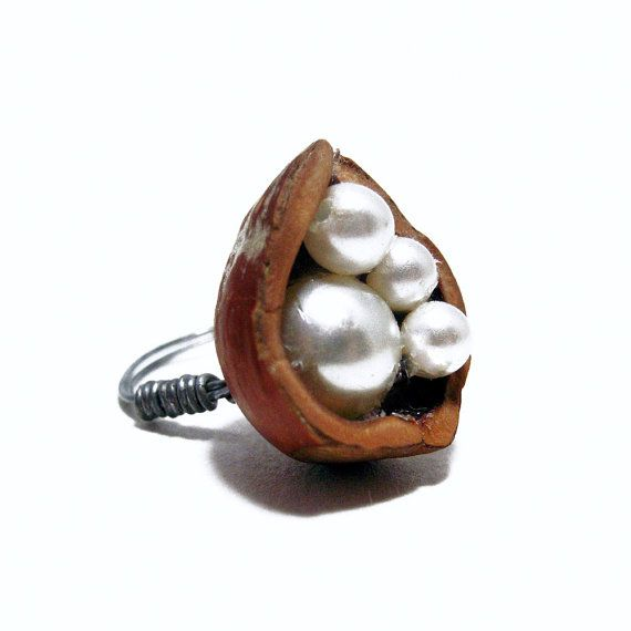 Hazelnut Shell Faux Pearl Wire Ring by https://KatKayeDesigns.etsy.com