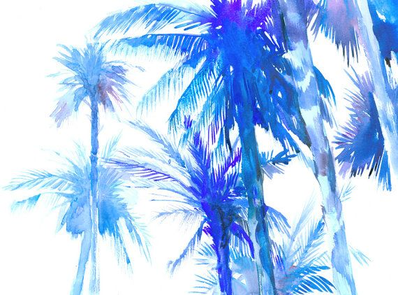 Blue Palm trees, original watercolor painting, 16 X 12 in, bright blue minimalist wall painting
