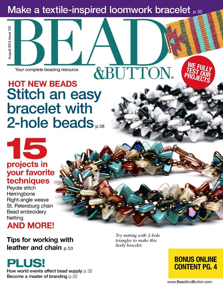 146 best ujsgok images on pinterest bead jewellery bead jewelry beadbutton august 2014 trendsetter diane fitzgerald on the cover with totally tubular triangle beads fandeluxe Images