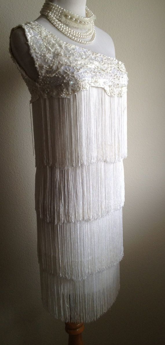 Sale AMAZING White One Shoulder Pearls Sequins Fringe Flapper Dress reserved for Jill on Etsy, $130.00