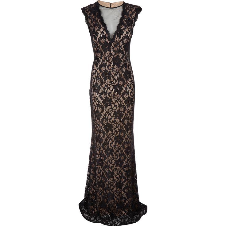 Betsy adam black lace open back evening dress tk for Tk maxx dresses for weddings