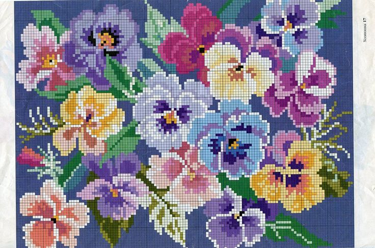 Needlework/Crosstitch pattern of Pansies