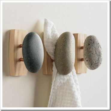 river rock wall bathroom hooks- so simple for the guest bathroom
