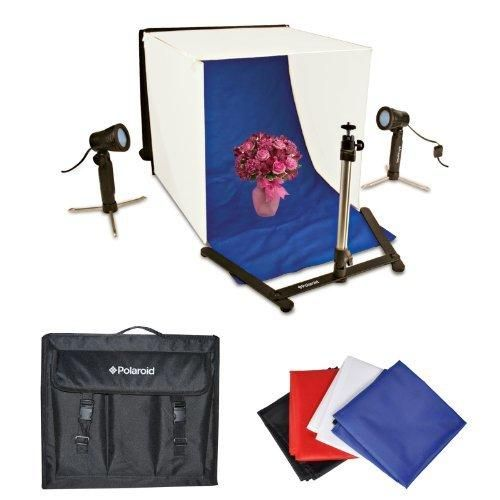 Polaroid Photo Studio Light Tent Kit Includes 1 Tent 2 Lights 1 Tripod Stand 1 Carrying Case 4 Backdrops (Black Blue White Red)