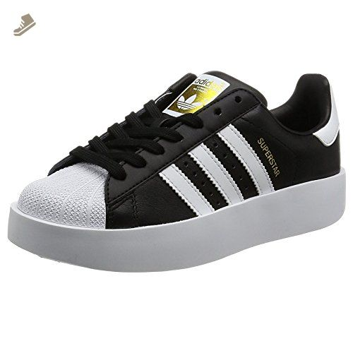 Adidas Womens Superstar Bold Core Black Footwear White Leather Trainers 7  US - Adidas sneakers for