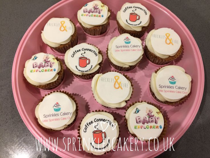 Some corporate logo edible printing to finish off vanilla cupcakes.