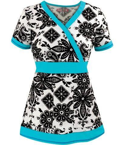 Black and White Bandana Print Women's Scrub Top with Blue Trim