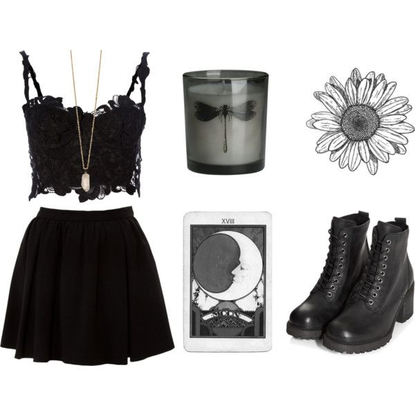 lace crop top, black skirt & high heel combat boots