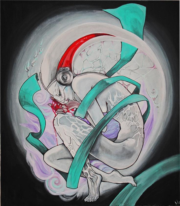 """Bernadette"", mixed media on canvas 80x90 cm"