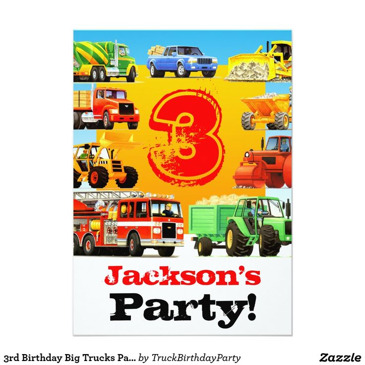 3rd Birthday Big Trucks Party 5x7 Paper Invitation Card
